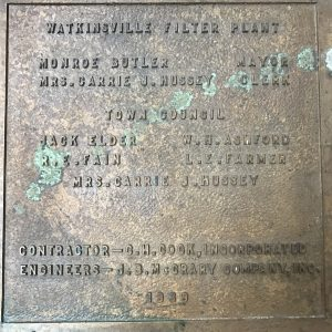 The first Watkinsville water plant